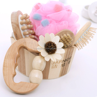 5pcs body care bath gift set wooden bath set for cleaning