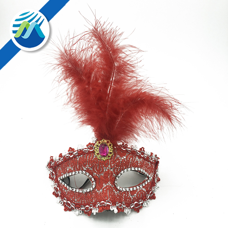 Halloween Costume Party Mask Lace Princess Masquerade White Red Feather Mask