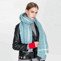 2018 High Quality New Fashion Winter Women Solid Color Striped Warm Cashmere Acrylic Scarf Shawl Pashmina
