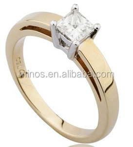 Princess Cut Solitaire Ring with Double band set in 18ct Yellow and White Gold