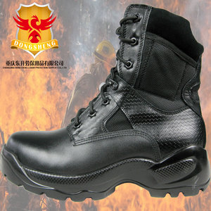 Black Leather Waterproof and Fireproof Steel toe cap and midsole safetty rubber rescue boot
