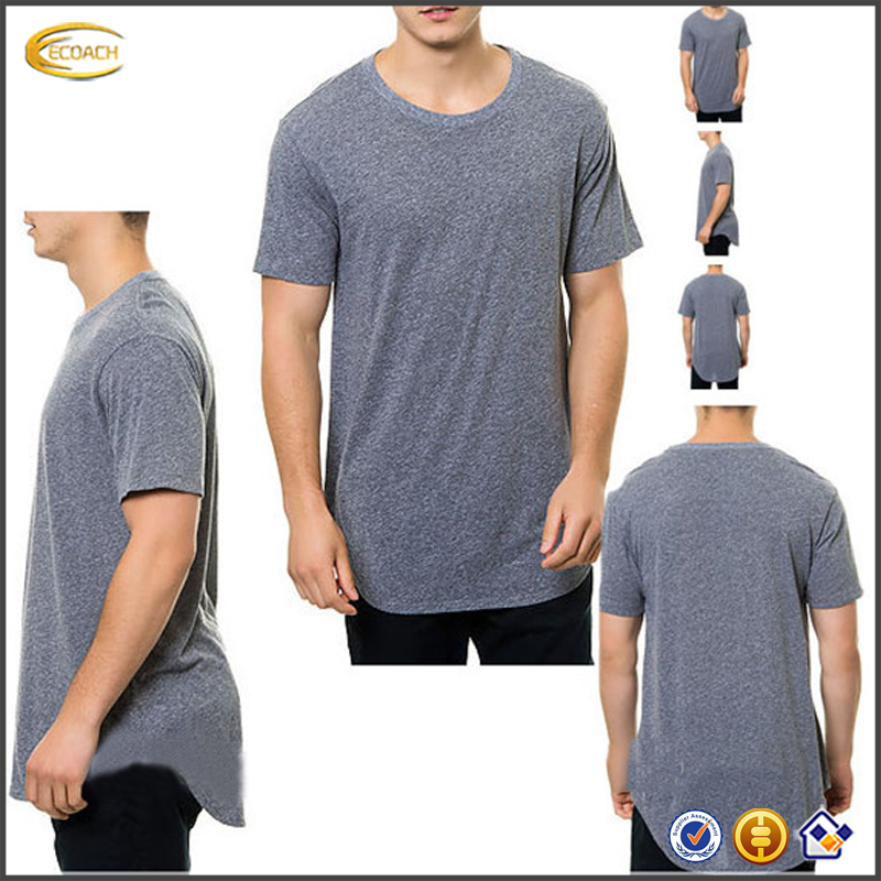 Ecoach OEM Customized Round Neck Plain Men Basic fashion long tail t shirt