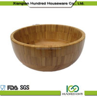 Custom Cheap China Gold Supplier unique round flat bamboo salad bowl sets