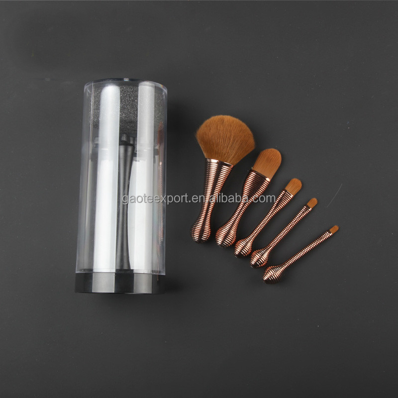 5 Piece Spiral Handle Make Up Foundation Eye Shadow Makeup Brush Set New Makeup Brush Supplier