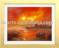 online wholesale shop,Hand-painted abstract impressionist seascape sunset canvas painting, wall decorative arts