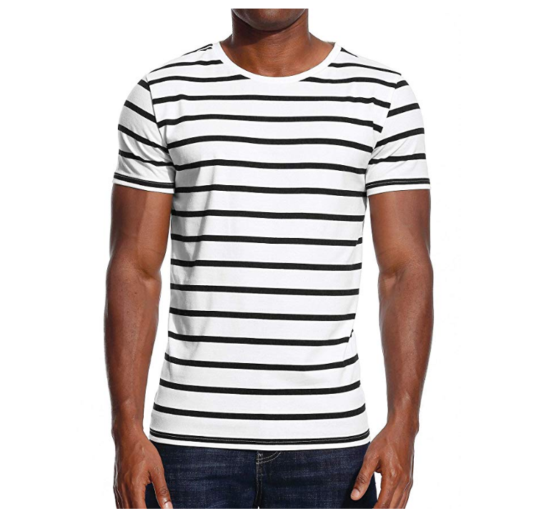 Custom Printing 95%Cotton 5%Spandex Stripe Men T Shirt