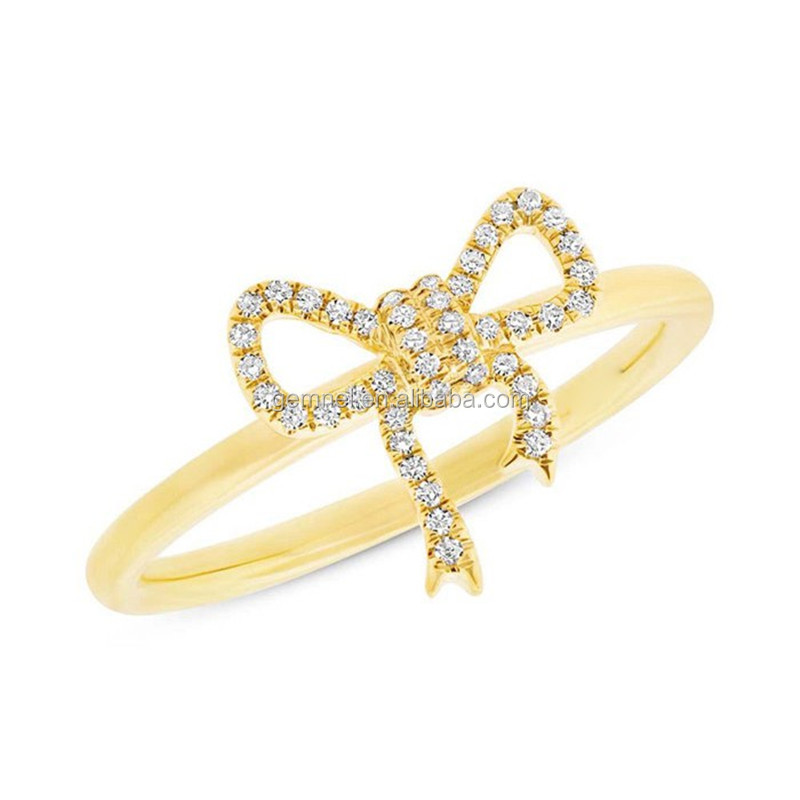 Custom ring jewellery diamond 14k solid gold bow ring