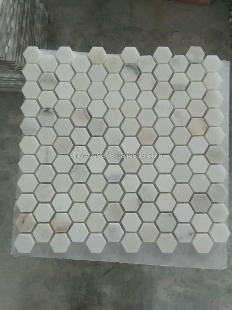 Classic carrara marmer mozaïek tegel hexagon mozaïek wandtegel ...