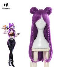 Волосы для косплея ROLECOS LOL K/DA, Kaisa, головные уборы, длинные фиолетовые термостойкие синтетические волосы LOL KDA 80 см(Китай)