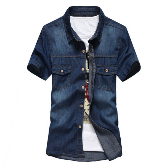 65bf8d3c Get Quotations · Denim Shirts For Men Summer 2015 Fashion Men's Jeans  Shirts Plus Size Shirt Camisa Jean Masculina