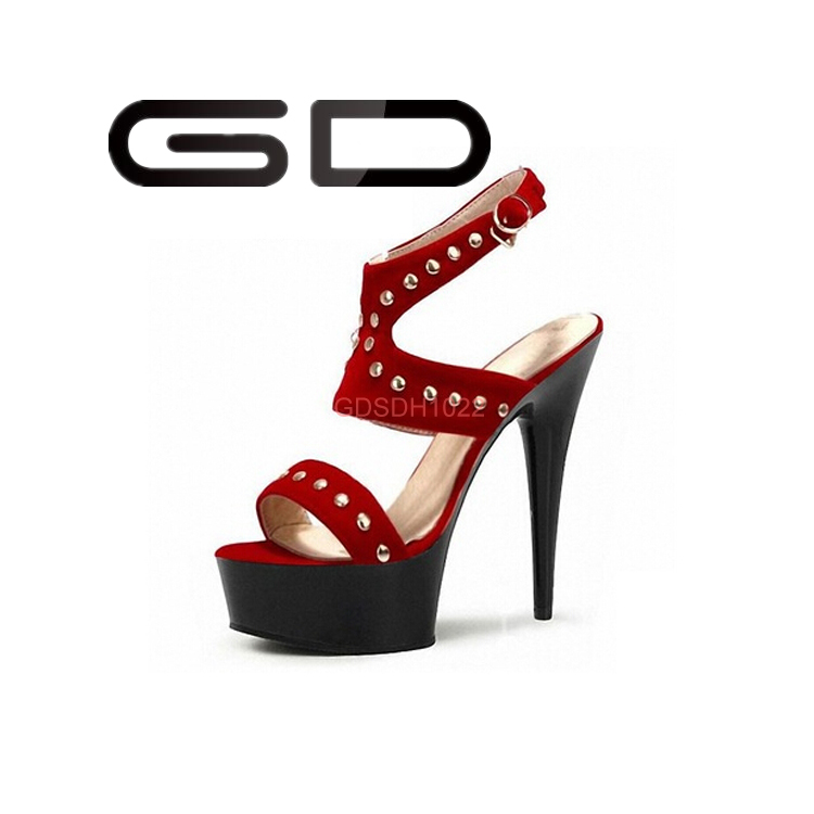 Sexy rhinestone women high heel model sandal 2015 suede leather upper for party sandal