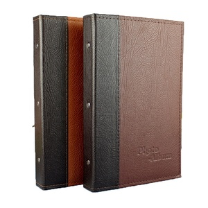 "Screw post bound binder leather photo album 4""x6"" PP pocket slip in scrapbook for 240 photo 10x15cm Brown leather albums"