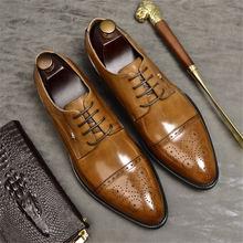 Phenkang/Мужская официальная обувь; Мужские оксфорды из натуральной кожи; Черные модельные туфли; Свадебная обувь; Кожаные броги на шнурках; 2020(Китай)