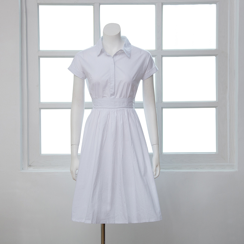 3c5f17a450a1 UK style neckband tall empire waist with belt short sleeve cotton summer  holiday A line midi dress