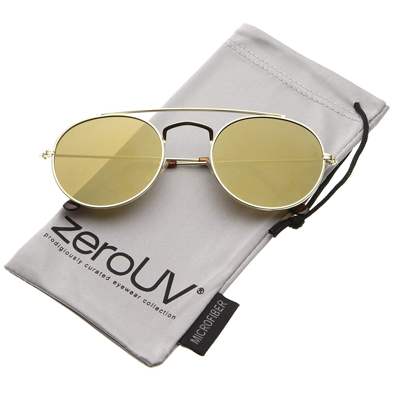 d8c2b65ca3 zeroUV - Classic Full Metal Double Bridge Crossbar Flat Lens Round Aviator  Sunglasses 54mm
