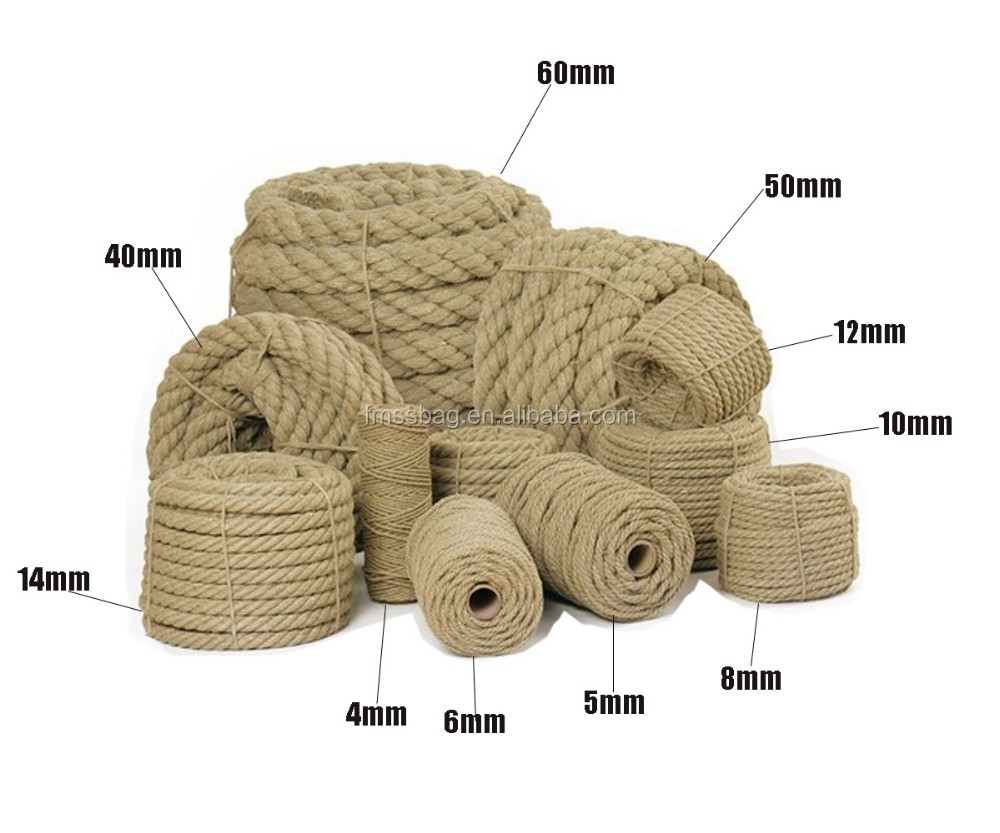 Atacado china 100% corda de cânhamo crua redonda ecologicamente correta