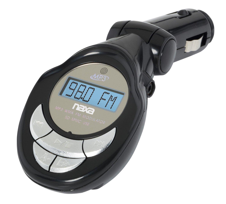 NAXA Electronics MP3/WMA FM Modulator/Transmitter with LCD Screen, (Black)