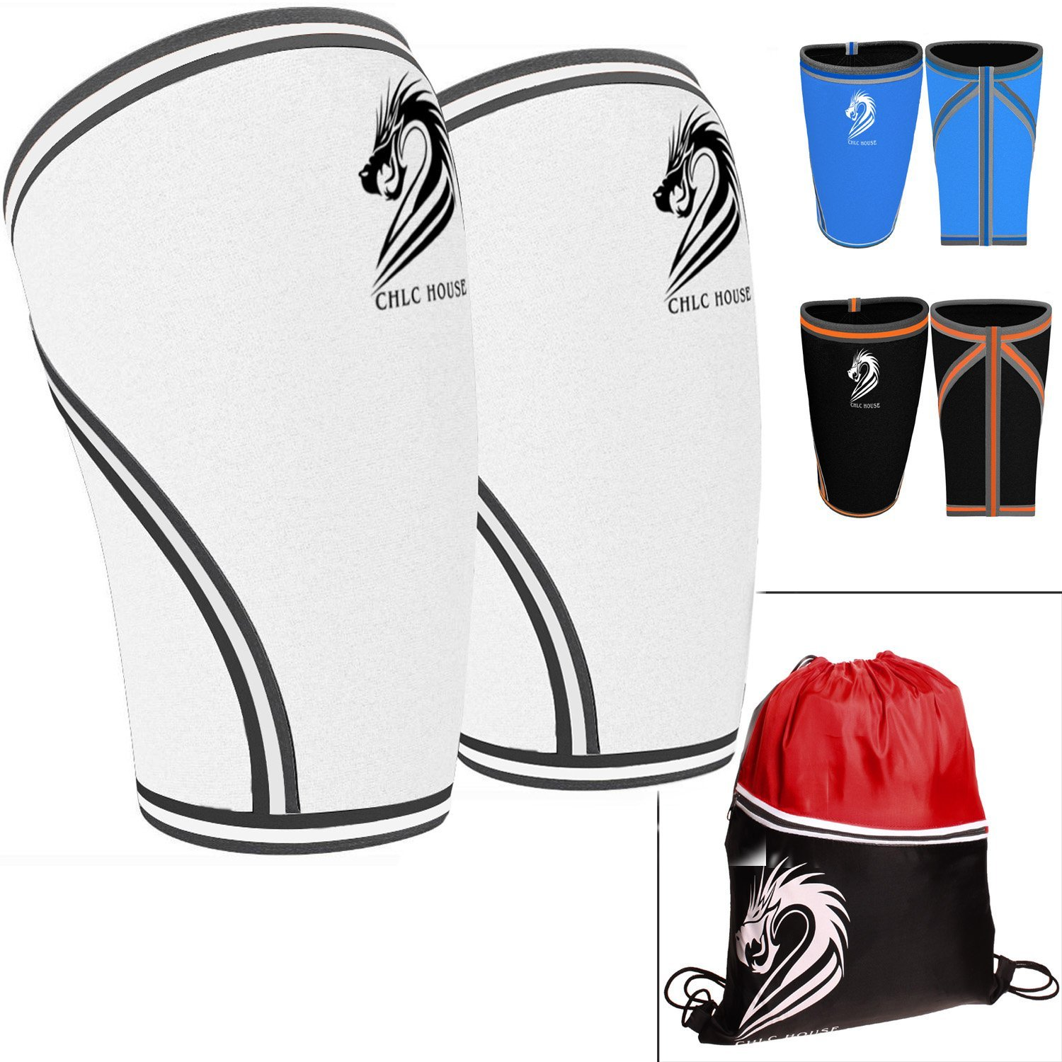 30da5761a3 Get Quotations · CHLC HOUSE Knee Sleeves (1 Pair) Free Gym Bag - Squat Knee  Support &