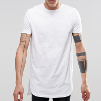 Mens white elongated tall tee t shirt white apparel factory
