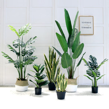 2019 New Modern Plastic Small Banana Plants Artificial Tree In Pots For Indoor Home Outdoor Landscaping Garden Decor