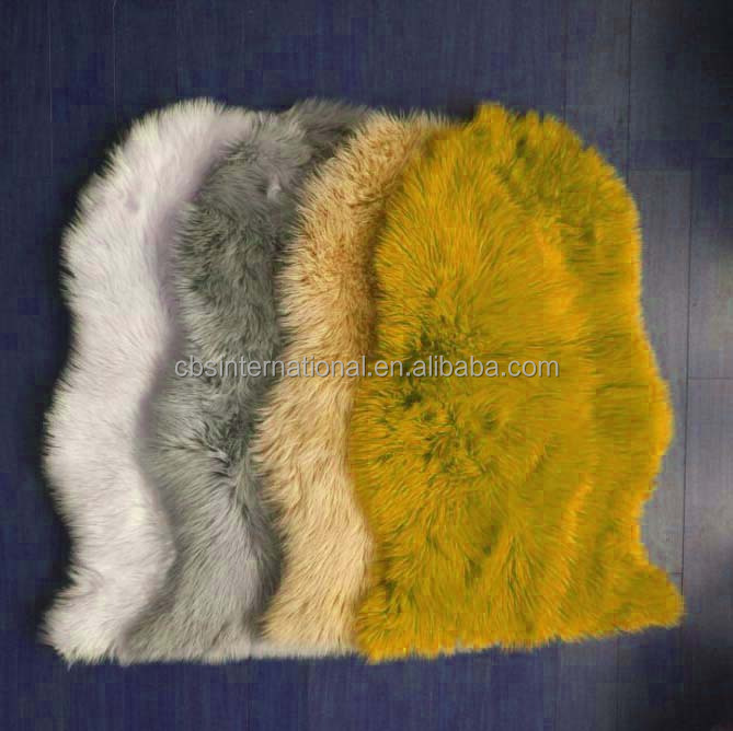 Synthetic Soft Plush White faux fur wool rug