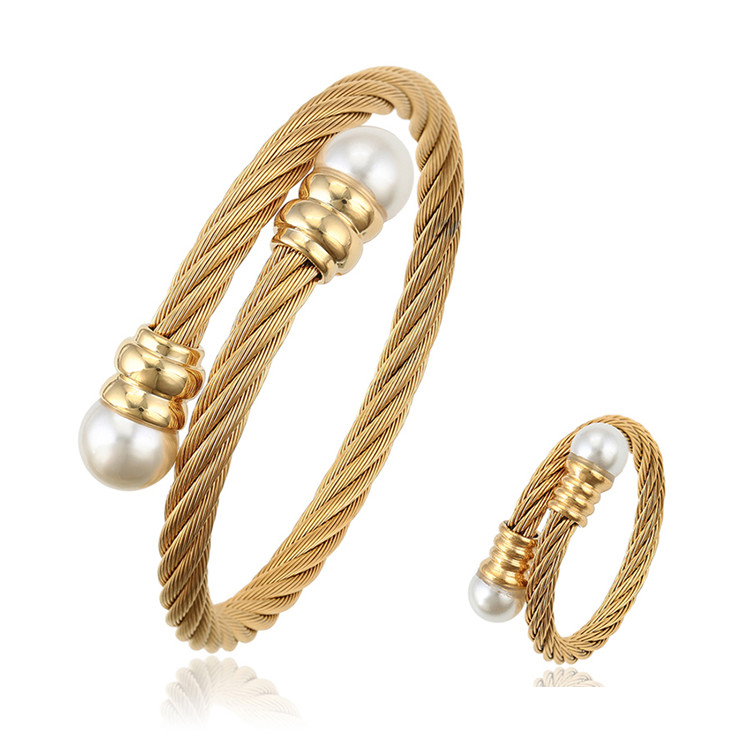 S-219 Xuping 14k/18k/22k/24k two piece jewelry set women stainless steel gold plated cuff cable bangle+ring