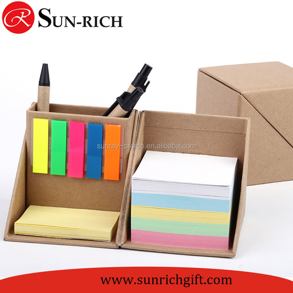 Hot sell Promotion gift desktop sticky notes set notepad can be use as pen vase pencil holder memo pad