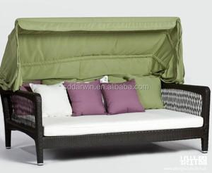 Rattan Outdoor Sleeper Sofa with Canopy