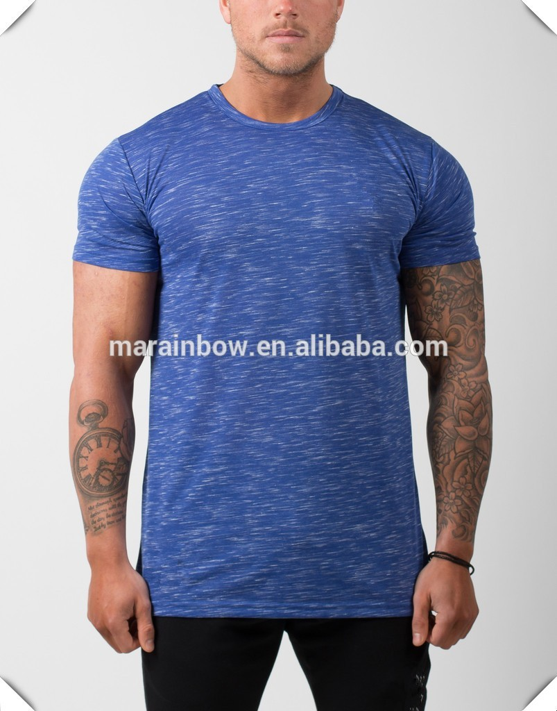 Fashion tapered fitness t shirt heather blue mens gym t Fitness shirts for men