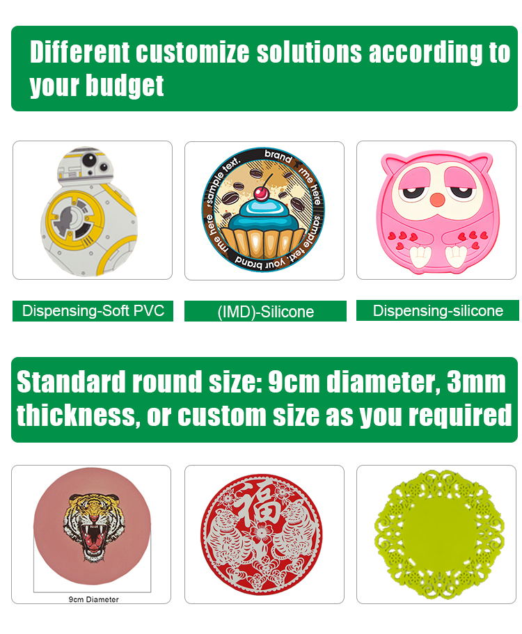 Eco-friendly customized silicone cup mat soft PVC coaster promotional coffee coasters