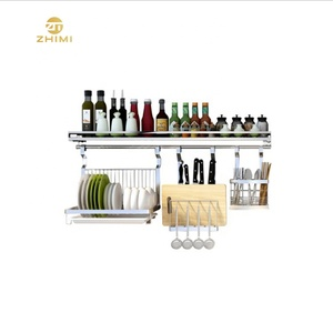 High Quality Multifunctional Kitchen Stainless Steel Metal Wall Mounted Hanging Rack