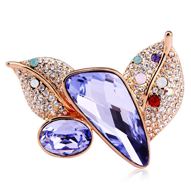 Charming 18 K Gold Plated Crystal Wedding Brooch For Women
