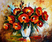 GZ613- 40*50 famous still life red flower oil painting for decoration living room diy diamond painting