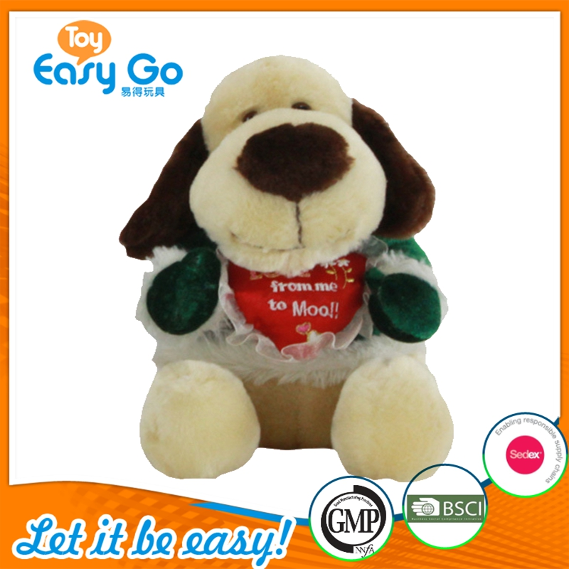 Hot Sale Soft Long Ears Brown Plush Dog Toy Wearing Green Winter Coat Holding Heart -Shaped