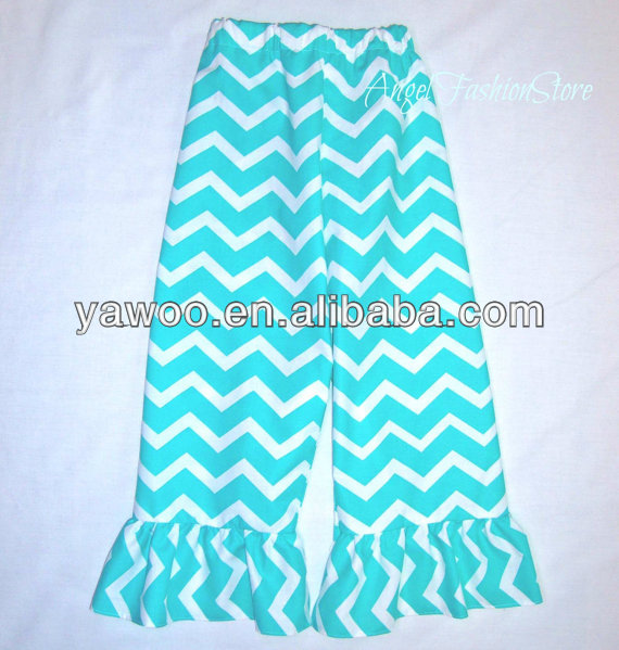 Latest Design Kids Clothing Baby Girls Chevron Cotton Pants For Baby Girls Summer Ruffle Long Capris Pant Toddler's Trousers