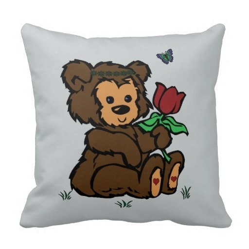 Creative Pillow Hippie Bear Headband Flower Butterfly Pillow Case (Size: 45x45cm) Free Shipping