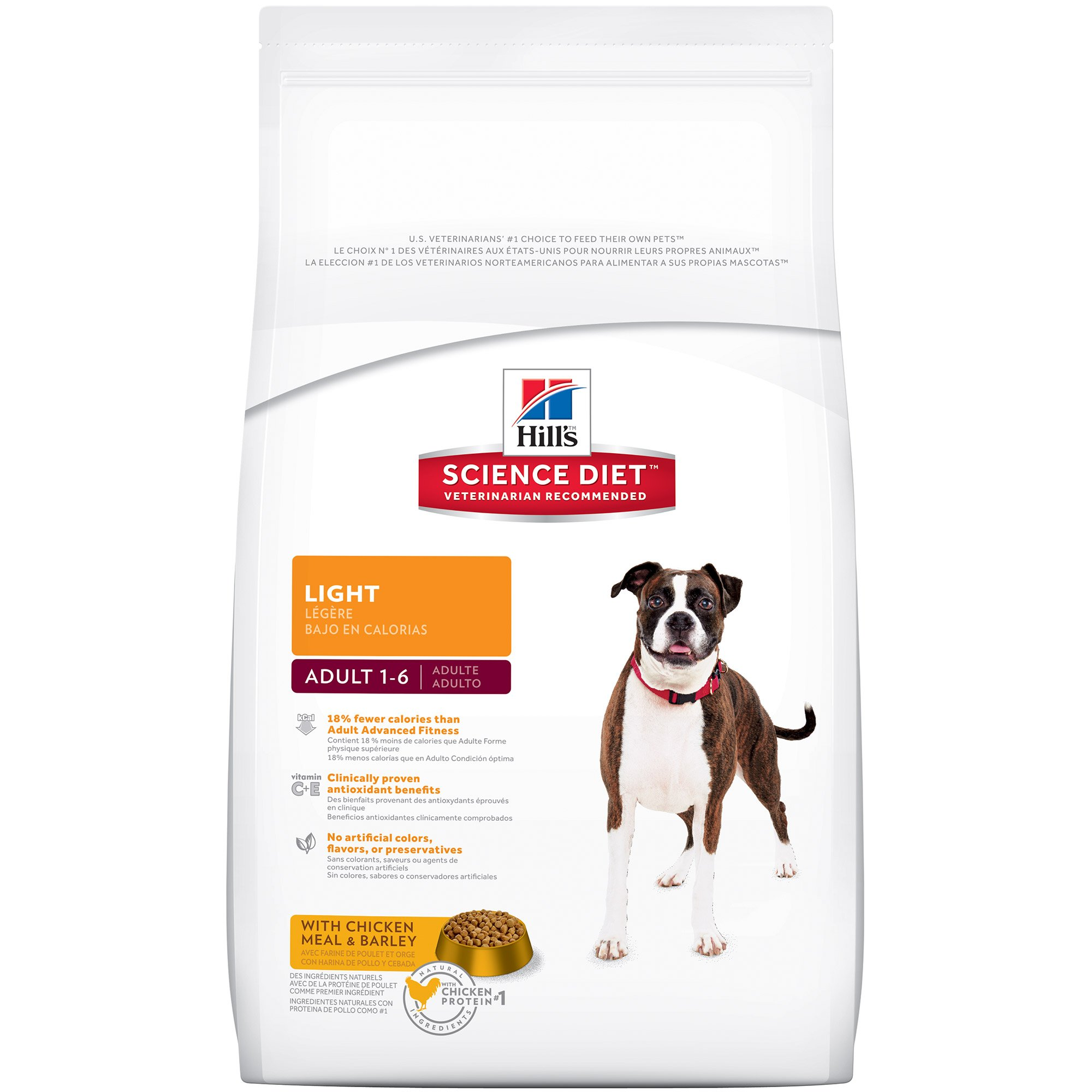 Hill's Science Diet Adult Light Dog Food, Chicken Meal & Barley for Weight Management, Dry Dog Food