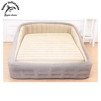Bedroom Furniture Round Blow Up Flocked Double Airbed Inflatable Air Bed Mattress Sleep With Backrest