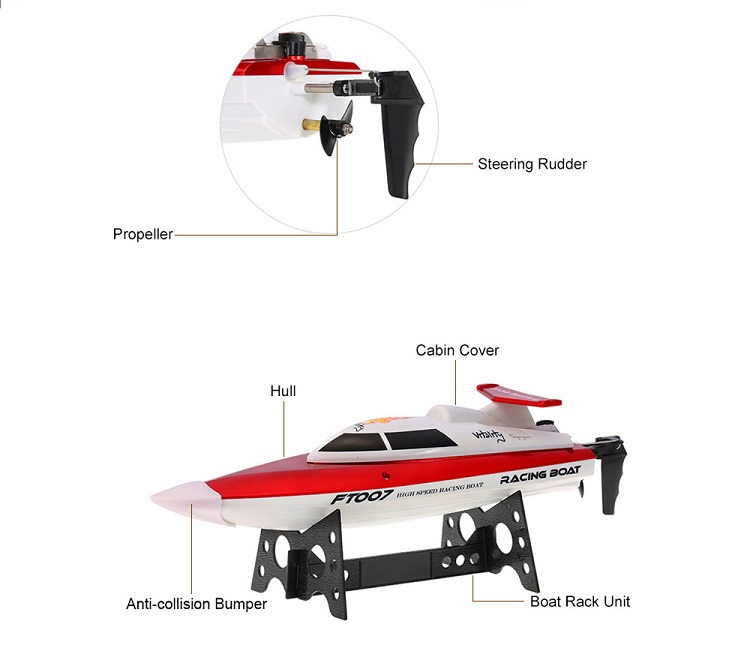 Hot Selling FT007 2.4G High Speed Racing Boat 4CH RC Boat