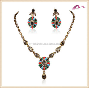 Fashion women vintage antique ethnic statement necklace and earring