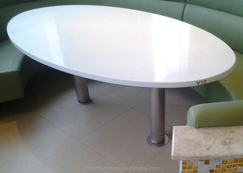 Attirant White Acrylic Solid Surface Table Tops