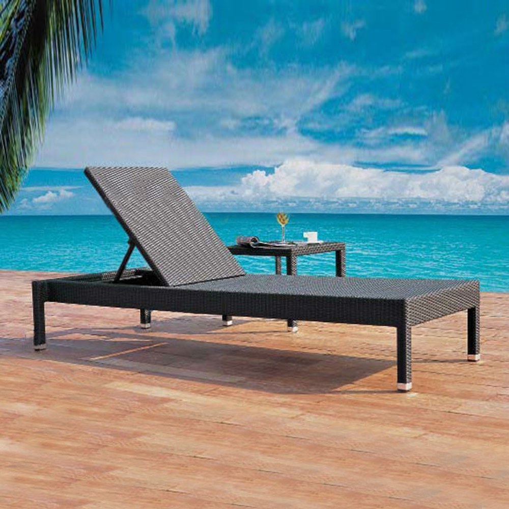 All weather rattan pool outdoor furniture wicker beach sun lounger with wheel