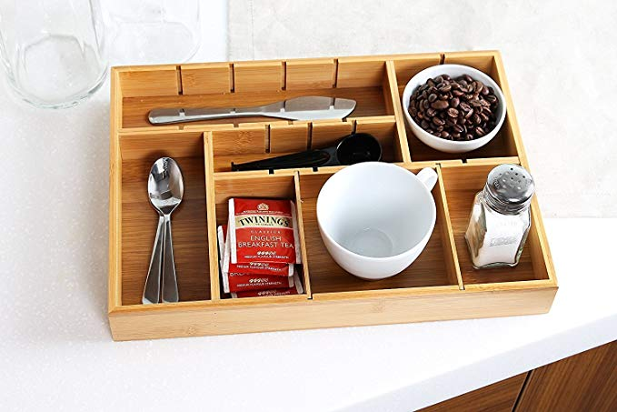Bamboo kitchen adjustable drawer organizer with removable dividers