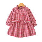 2018 autumn style new children apparel kids clothing girls stripe dresses belt tunic design wholesale