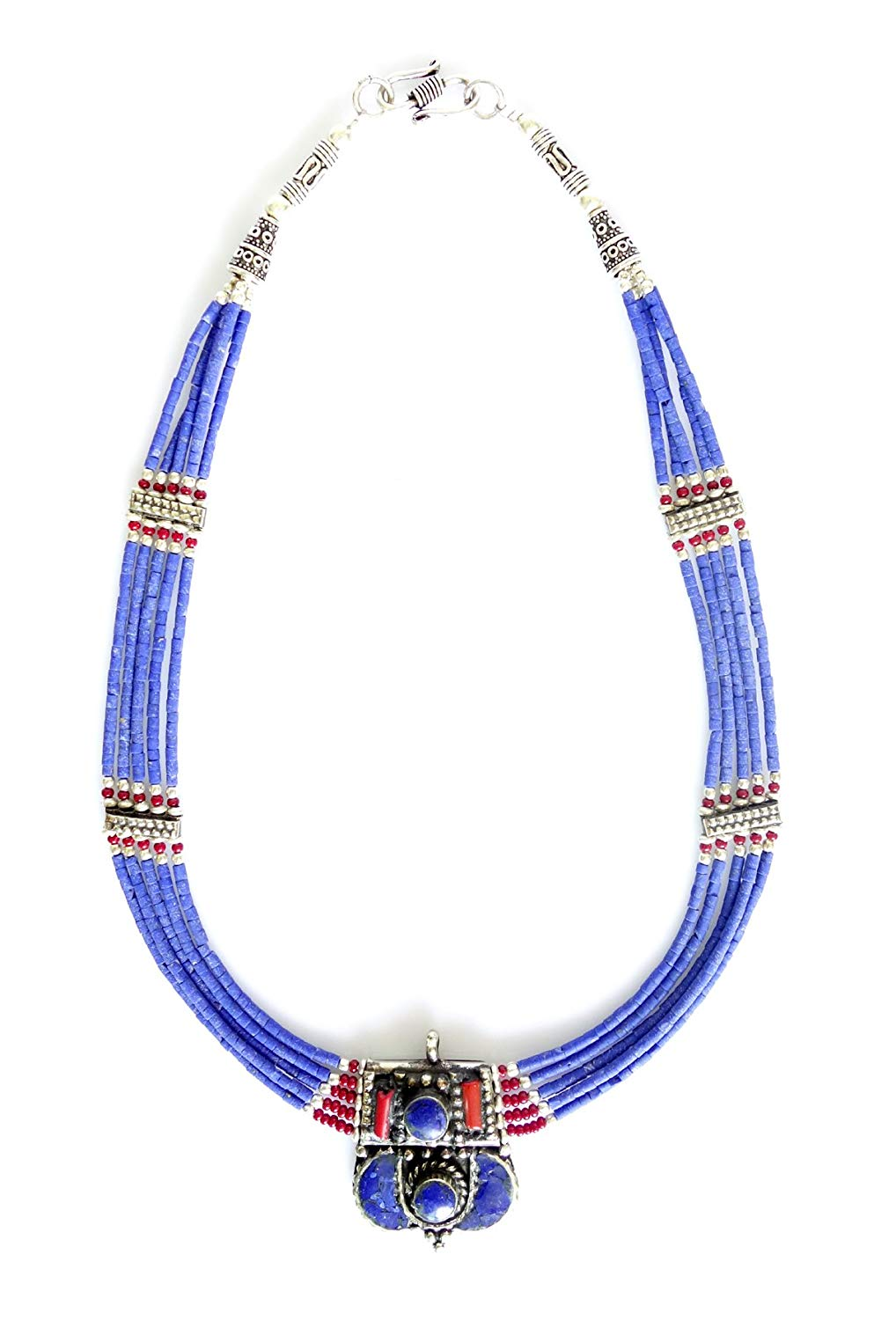 Tibetan Silver BLUE LAPIS LAZULI GEMSTONE ANTIQUE BUDDHIST BOHEMIAN FASHION HANDMADE NECKLACE JEWELRY ETHNIC GYPSY TRIBAL FUSION COLLAR MULTIPLE STRAND NECKLACE FOR WOMAN