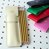 Beautiful Colors Leather Pencil Pen Pouch for 4 Gold Pencils