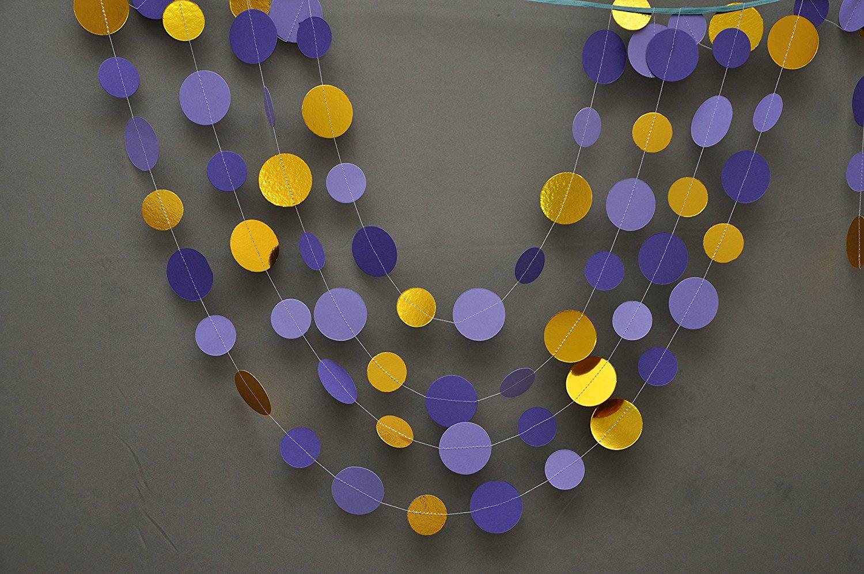 Wedding decor,Gold and purple garland, Gold & purple garland, Shimmer garland, Paper garland, Gold radiant orchid garland,Birthday Decor