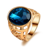 High quality Fashion gold plated Blue Stone austrian Crystal Ring Men Women Fine Jewelry party unisex wedding engagement ring