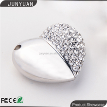 Jewelry USB drives, heart shape flash memory,crystal gift USB for promotion