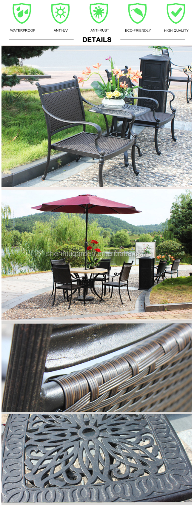 Elegant black 5pcs metal frame and rattan weave tile top round cast aluminum chair and table patio dining set